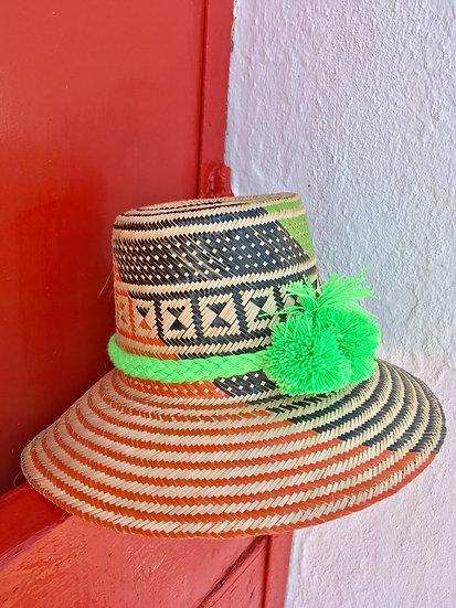 Colombian Wayuu hat | orange Straw | Kalekale | frontal view
