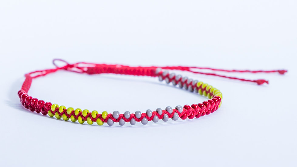 Guatapé Bracelet Red Grey Lime