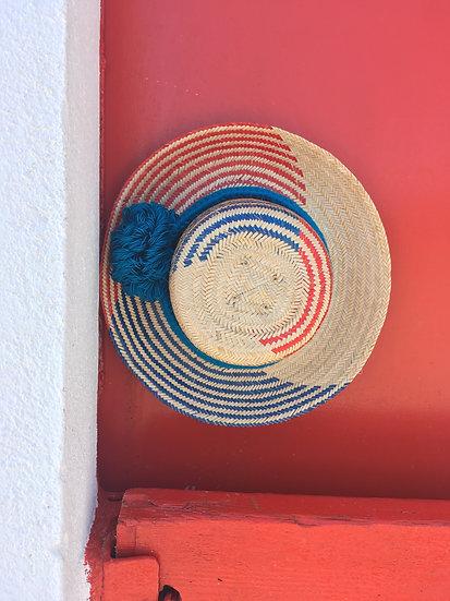 Colombian Wayuu hat | red blue Straw | Kalekale | upper view
