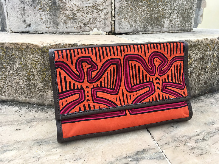 Kuna mola weave and leather clutch pink orange kale kale