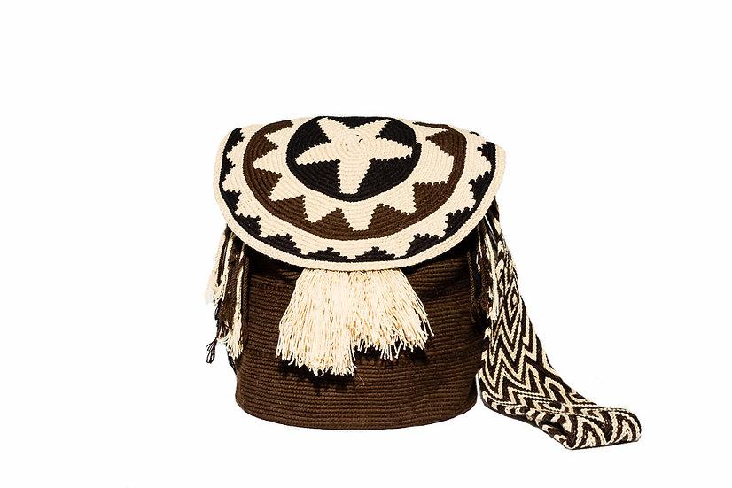 Wayuu Colombian bucket bag with pompons boho style kalekale
