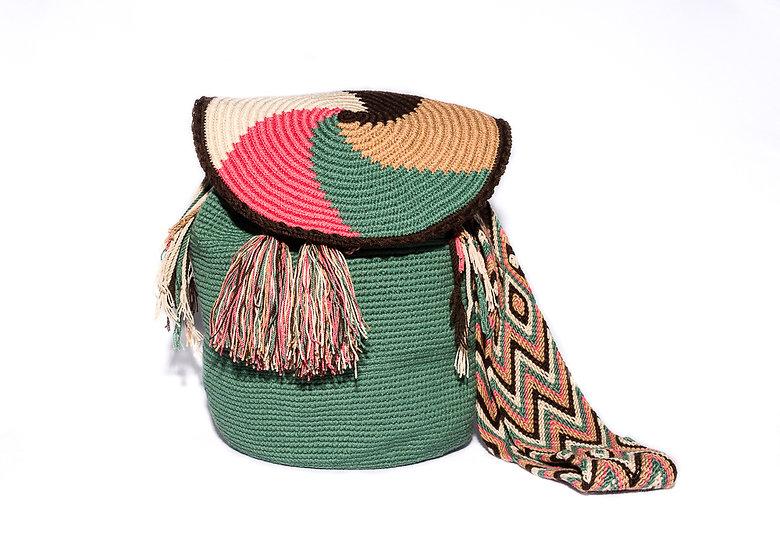 Wayuu Colombian bucket bag with pompons green kalekale