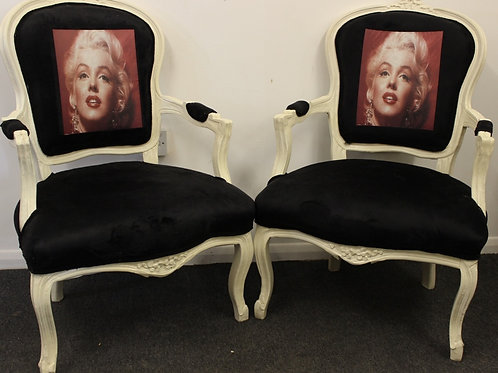 FRENCH STYLE FURNITURE - BLACK & WHITE LOUIS ARMCHAIRS - MARILYN MONROE | C320