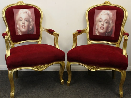 FRENCH STYLE FURNITURE - GOLD & RED LOUIS ARMCHAIRS - MARILYN MONROE | C321