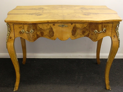 ANTIQUE ART DECO STYLE DESK WITH BRASS APPLICATIONS - IN WALNUT - C35