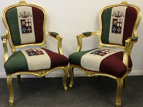 Pair of Antique Style Chairs - ITALIAN NAVY FLAG - Mahogany gold leaf - C319