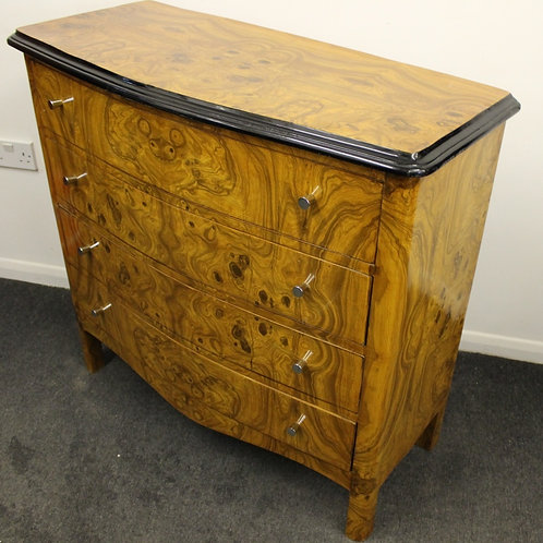 ANTIQUE FRENCH STYLE COMMODE CHEST OF DRAWERS WITH 4 DRAWERS IN WALNUT - C434