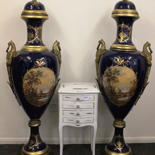 PAIR OF FRENCH SEVRES STYLE PORCELAIN VASES - URNS - AMPHORA 165cm Height - C286