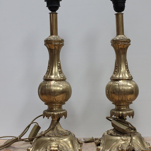 PAIR OF ANTIQUE FRENCH STYLE BRASS LAMPS - C91