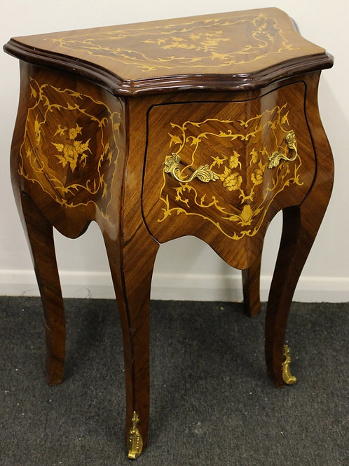 ANTIQUE FRENCH STYLE INLAID BOMBE BEDSIDE CABINET IN WALNUT WITH DRAWER - C219
