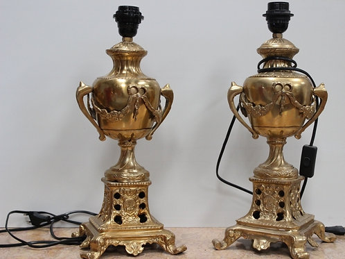 PAIR OF ANTIQUE FRENCH STYLE BRASS LAMPS - C87