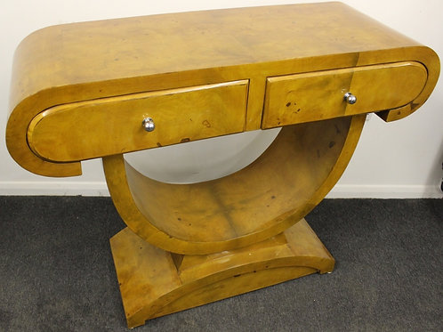 ANTIQUE ART DECO STYLE CONSOLE HALL TABLE IN WALNUT WITH 2 DRAWERS C405