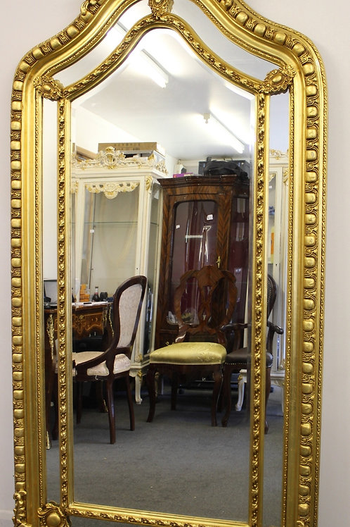 ANTIQUE VINTAGE STYLE LARGE LOUIS CARVED GOLD FRENCH MIRROR - BEVELED - C375