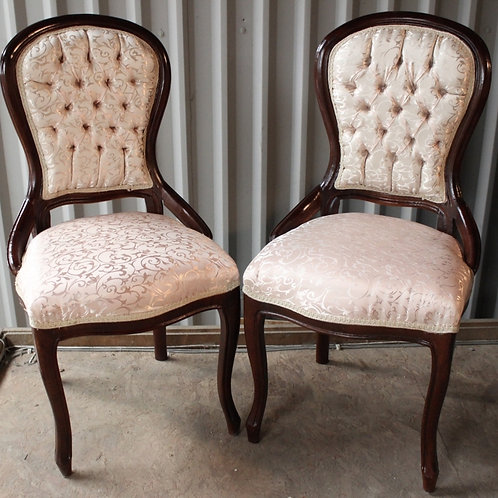 ANTIQUE FRENCH STYLE FURNITURE - PAIR OF WHITE CHAIRS - MAHOGANY - C66