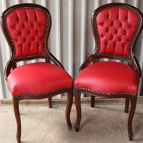 ANTIQUE FRENCH STYLE FURNITURE - PAIR OF RED CHAIRS - MAHOGANY - C65