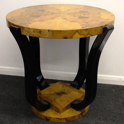 ART DECO STYLE FURNITURE - OCCASIONAL ROUND COFFEE SIDE TABLE - BLACK LEGS C10