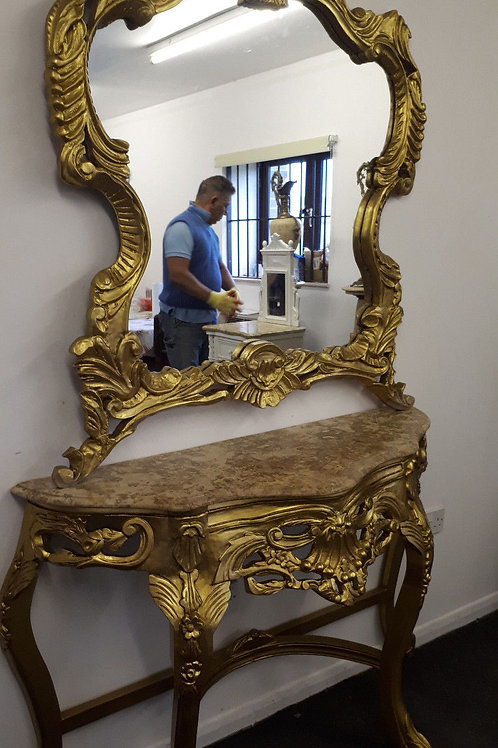 FRENCH GILDED CONSOLE TABLE WITH MARBLE TOP WITH GILDED MIRROR - 631