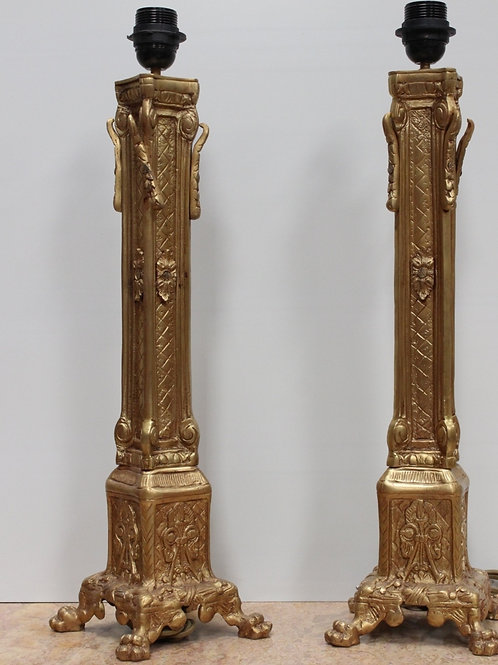 PAIR OF ANTIQUE FRENCH STYLE BRASS LAMPS - C90