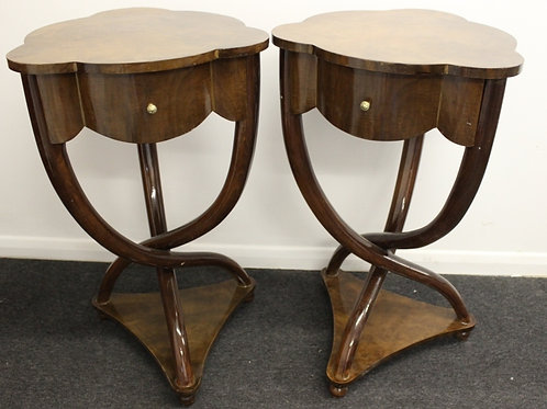 PAIR OF DARK ART DECO STYLE CROSS LEGGED TABLES WITH DRAWERS - ROSEWOOD - C8