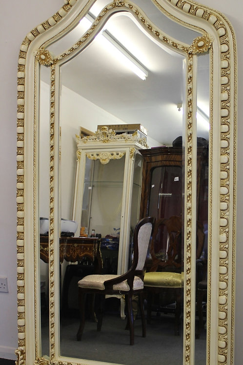 ANTIQUE VINTAGE STYLE LARGE LOUIS CARVED WHITE  FRENCH MIRROR - BEVELED - C377