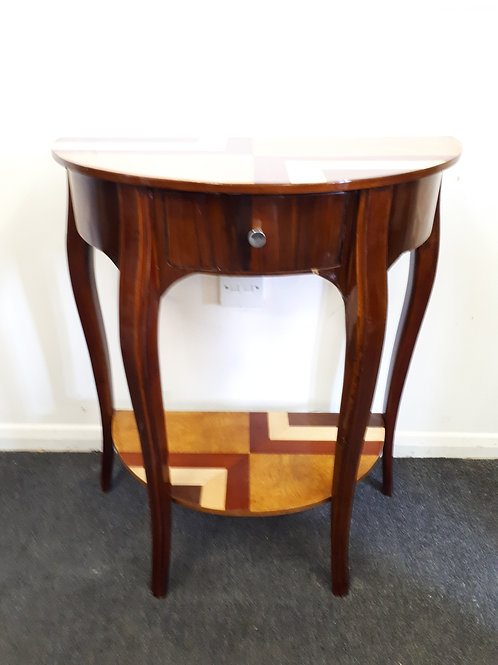 WOODEN INLAID HALF CIRCLE OCCASIONAL TABLE - 515