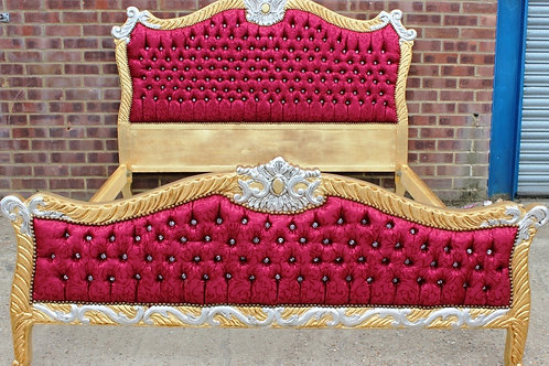 ANTIQUE FRENCH STYLE BED FRAME   GOLD & BORDEAUX   HANDMADE   KING SIZE BED C310