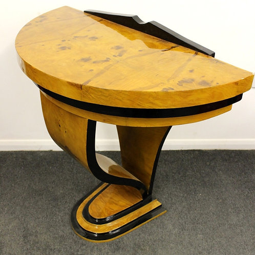 ANTIQUE ART DECO STYLE HALF MOON CONSOLE HALL TABLE IN WALNUT- C413