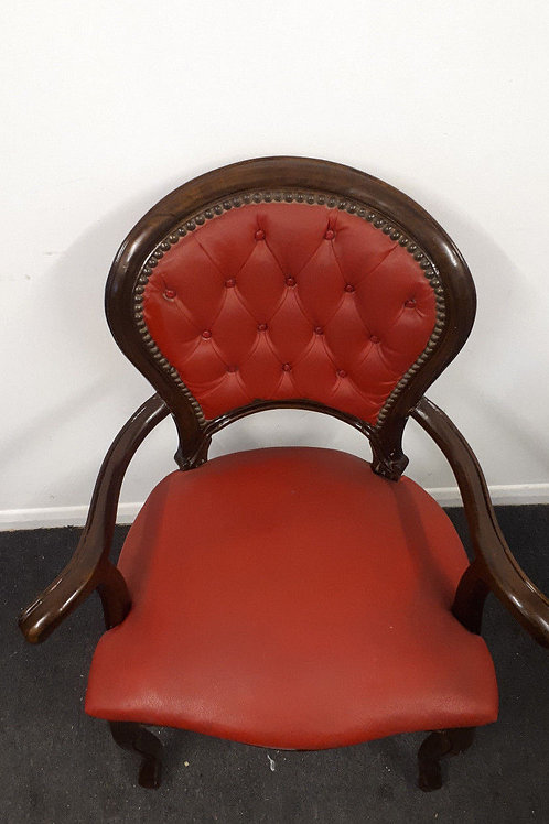 DARK WOODEN ARMCHAIR WITH RED LEATHER CUSHION - 630