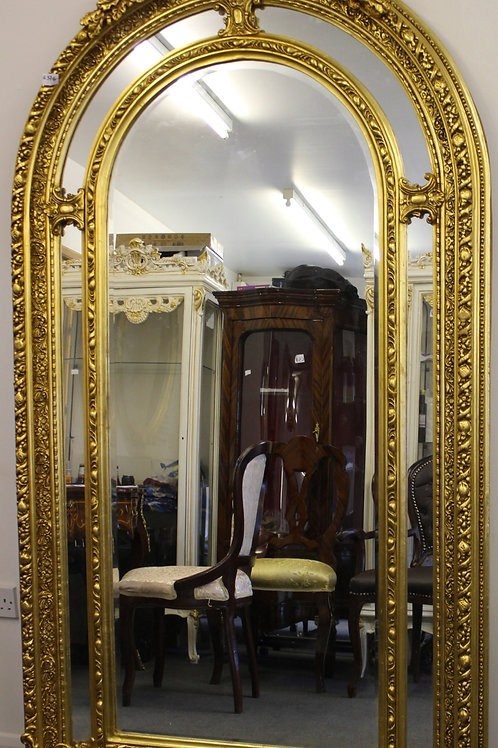 ANTIQUE VINTAGE STYLE LARGE LOUIS CARVED GOLD FRENCH MIRROR - BEVELED - C376