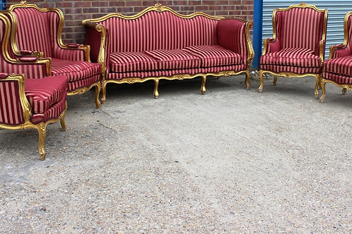 ANTIQUE FRENCH SOFA WITH ARMCHAIRS - LIVING ROOM - 3 PIECE SALON SET C333