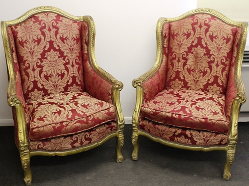 ANTIQUE FRENCH FURNITURE - PAIR OF WINGBACK ARMCHAIRS - LOUIS - GOLD C50