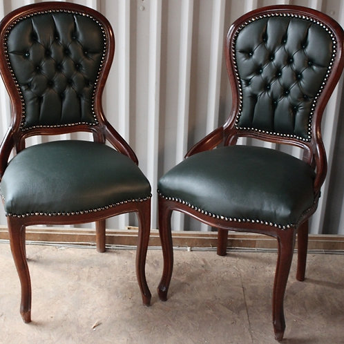 ANTIQUE FRENCH STYLE FURNITURE - PAIR OF GREEN CHAIRS - MAHOGANY - C67