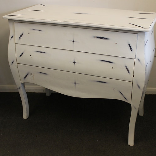 SHABBY LOOK FURNITURE - WHITE CHEST OF DRAWERS - 3 DRAWERS - C210