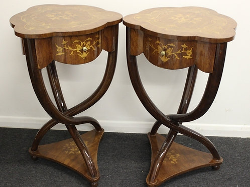 PAIR OF INLAID ART DECO STYLE CROSS LEGGED TABLES WITH DRAWERS - ROSEWOOD - C7