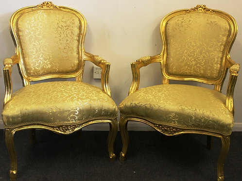 FRENCH STYLE FURNITURE - PAIR OF LOUIS CHAIRS - MAHOGANY GOLD LEAF - C317