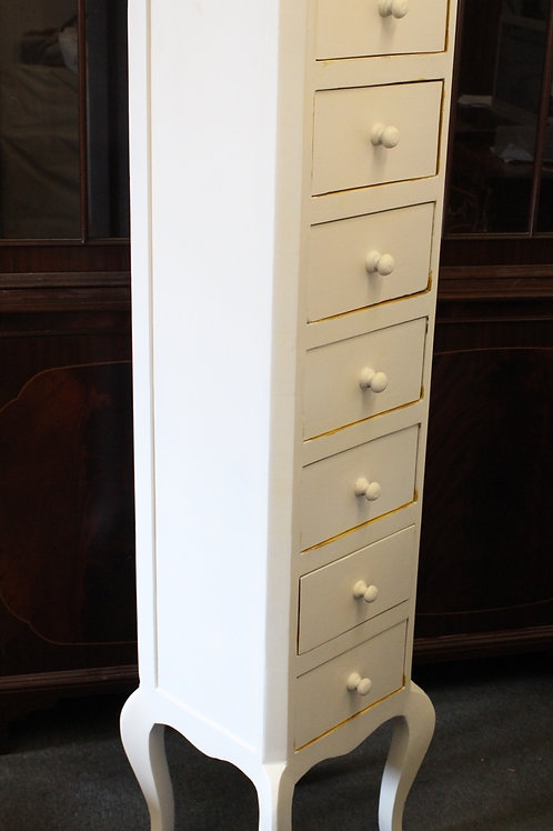 ANTIQUE FRENCH STYLE 7 DRAWERS WELLINGTON - WHITE SHAPE - C68