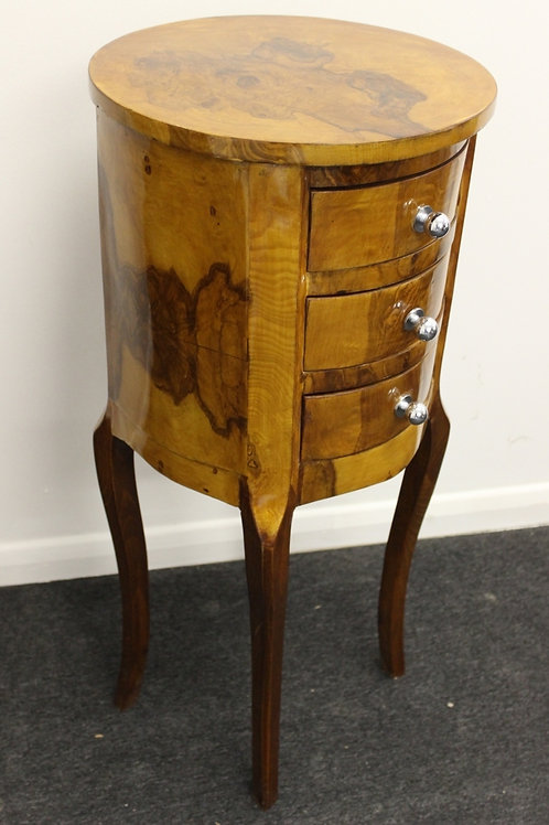ANTIQUE FRENCH STYLE BEDSIDE TABLE - CABINET - IN WALNUT - 3 DRAWERS C22