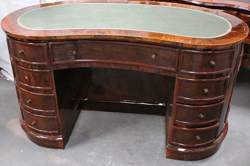 ANTIQUE STYLE FRENCH KIDNEY DESK WRITING TABLE - LEATHER TOP - WALNUT - C205