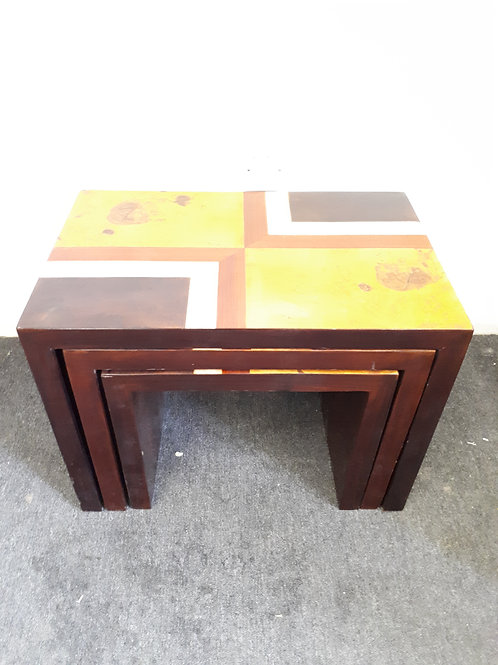 NEST OF INLAID ROSEWOOD TABLES - 531