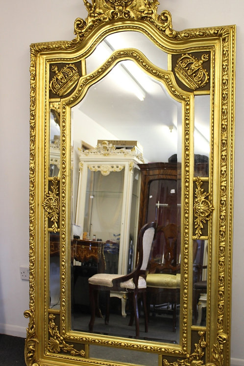 ANTIQUE VINTAGE STYLE LARGE LOUIS CARVED GOLD FRENCH MIRROR - BEVELED - C372