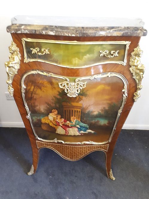 FRENCH STYLE SIDEBOARD/CABINET WITH PAINTED IMAGE WITH BRASS DECORATION - 535