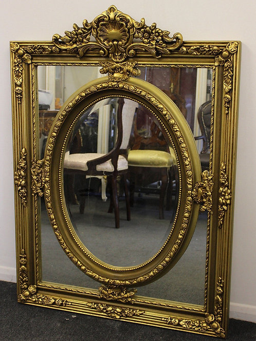 ANTIQUE VINTAGE STYLE LARGE LOUIS CARVED GOLD FRENCH MIRROR - BEVELED - 636