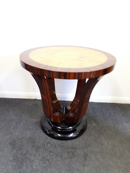 ART DECO STYLE ROUND OCCASIONAL TABLE IN ROSEWOOD AND WALNUT - 505