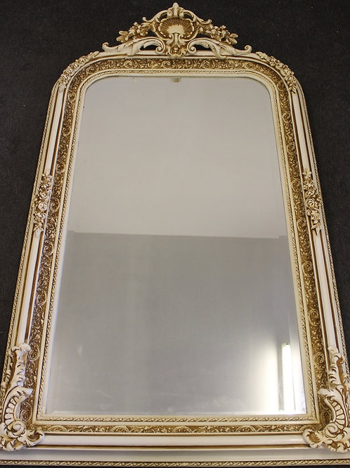 ANTIQUE VINTAGE STYLE LARGE LOUIS CARVED WHITE FRENCH MIRROR - BEVELED C369
