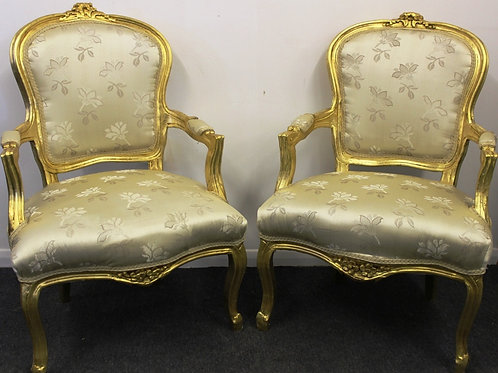 ANTIQUE FRENCH STYLE FURNITURE - PAIR OF CHAIRS - MAHOGANY GOLD LEAF - C324