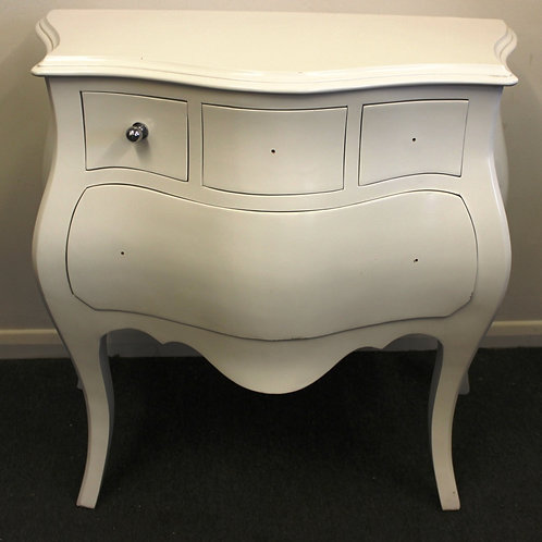 ANTIQUE FRENCH STYLE WHITE BOMBE BEDSIDE CABINET - CHEST OF DRAWERS - C234