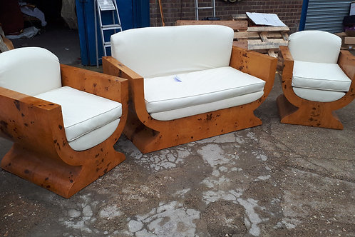 SET OF 3 ART DECO ARMCHAIRS IN WALNUT AND CREAM LEATHER - 621