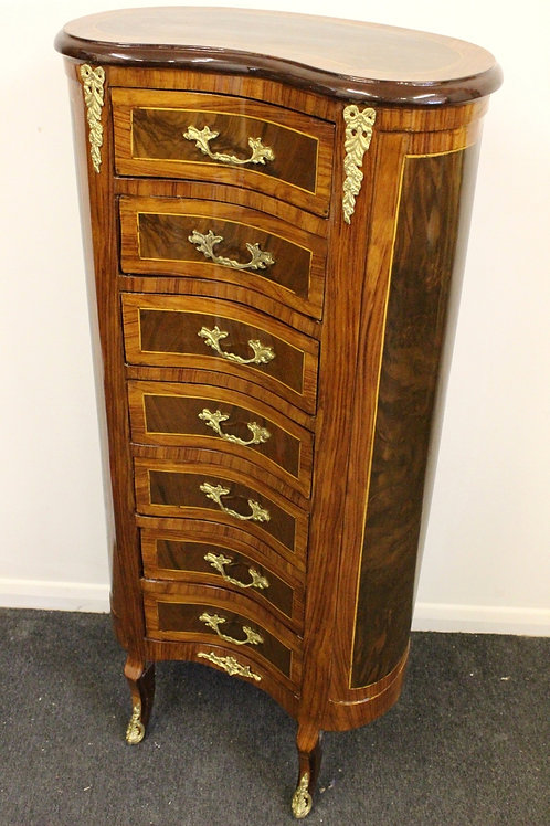 ANTIQUE FRENCH STYLE INLAID KIDNEY SHAPE CHEST OF DRAWERS WELLINGTON - C273