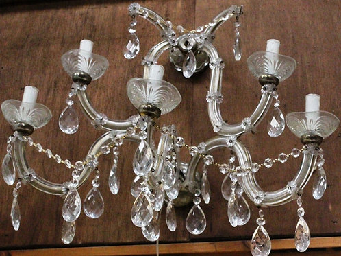 GLASS AND BRASS CHANDELIER - ANTIQUE FRENCH STYLE - C292