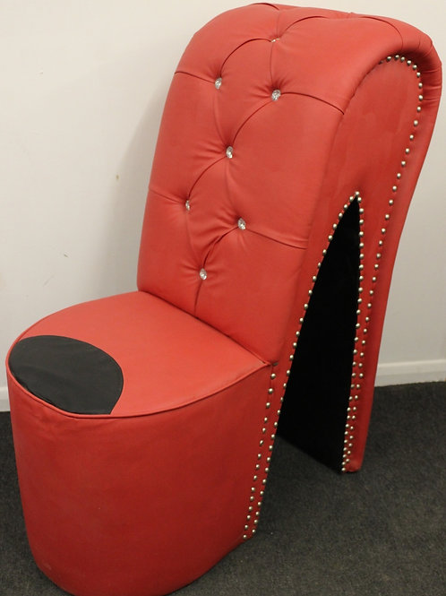 RED & BLACK FUNKY STILETTO HIGH HEEL SHOE CHAIR HOME FURNITURE FAUX LEATHER C412